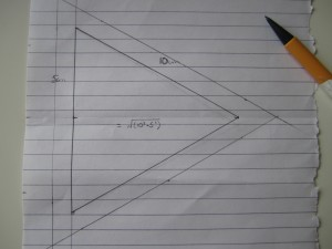 Equilateral triangle of 10 cm each side.  With a border of 1 cm.