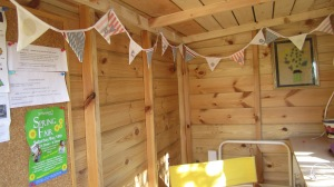 Bunting hung inside Lavender Lodge